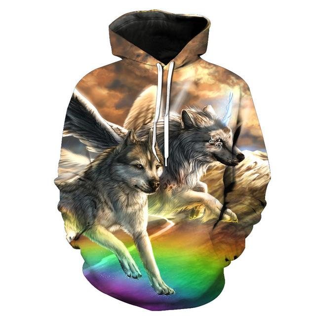 Wolf -Two Running Wolf 3D - Wolf Hoodies