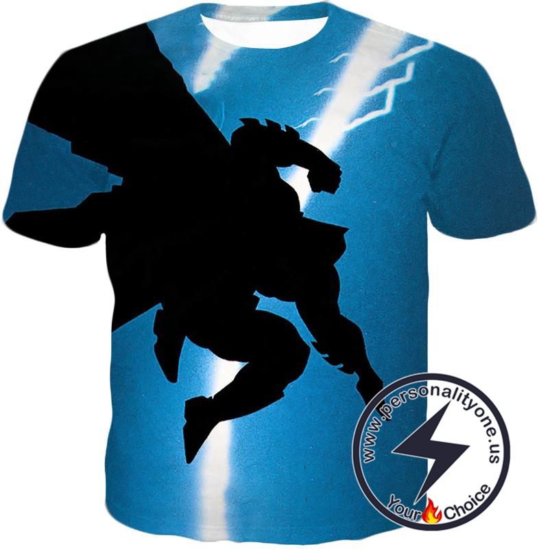 Amazing Action Batman Awesome Shadow Print Blue T-Shirt