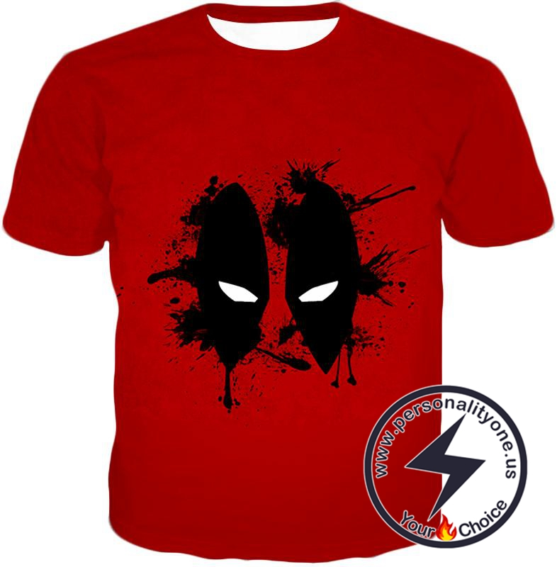 Amazing Red Deadpool Masked Patterned Promo T-Shirt