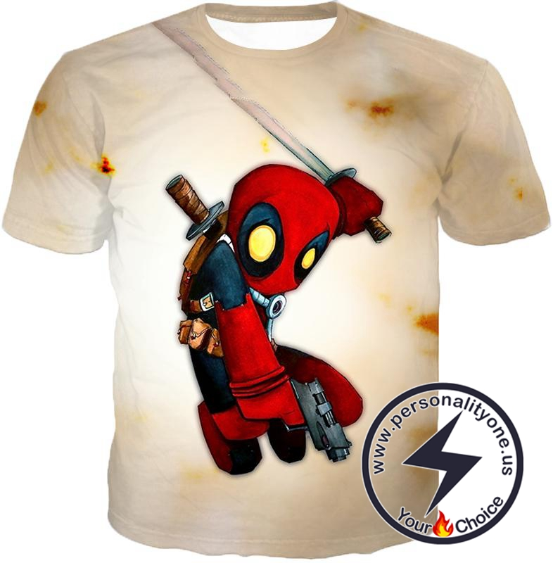 Cool Deadpool Funny Figure Action White T-Shirt