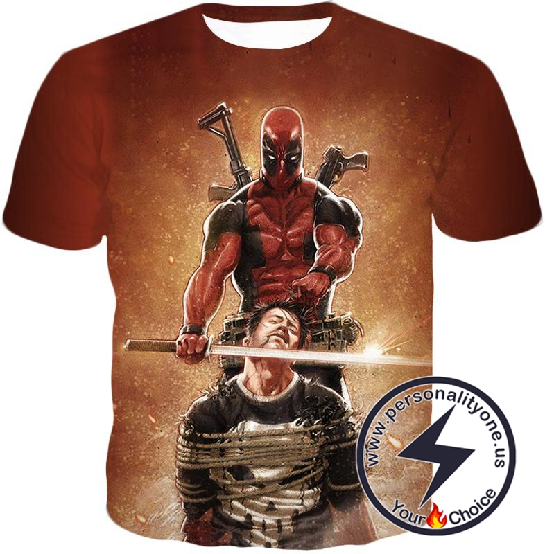 Excellent Mercenary Deadpool Hired to Kill The Punisher Cool Black Action T-Shirt