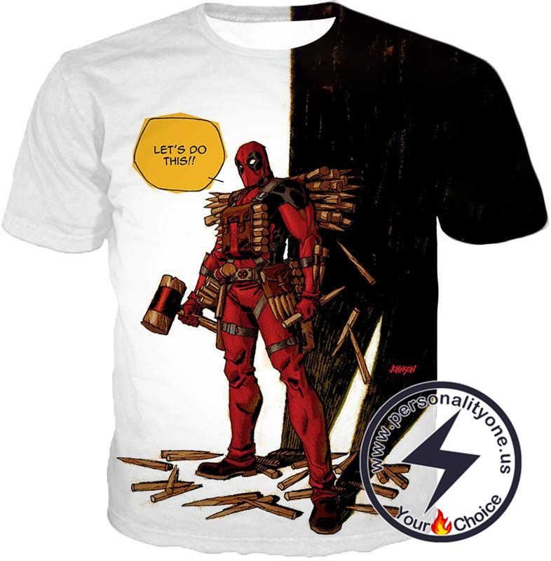Extremely Comical Marvel Superhero Deadpool White T-Shirt