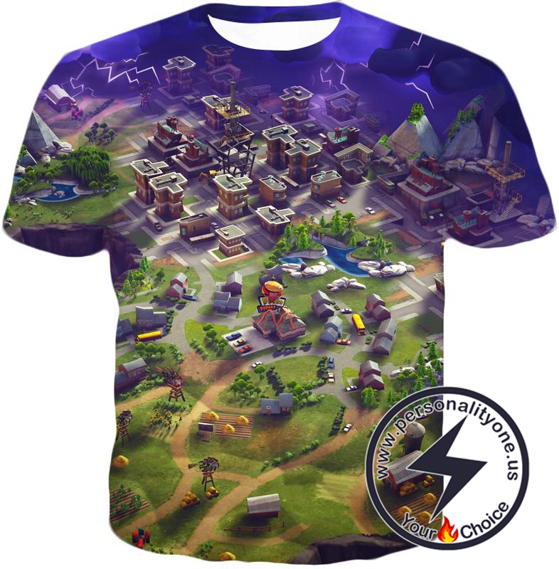 Fortnite T-Shirt Battle Royale Map Overview : Anime custom ...