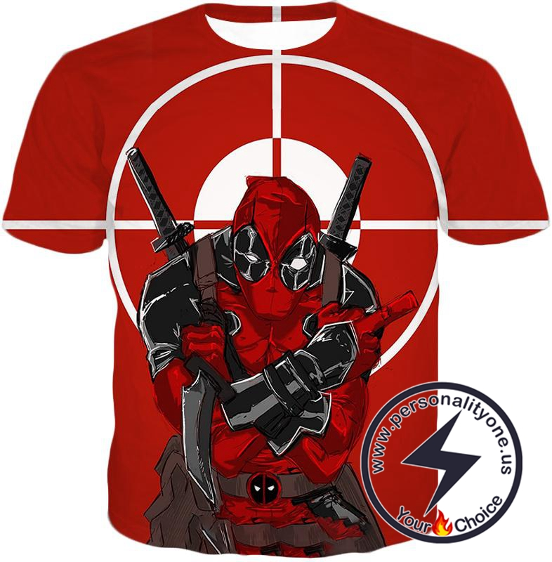 Highly Skilled Warrior Deadpool Red Target T-Shirt