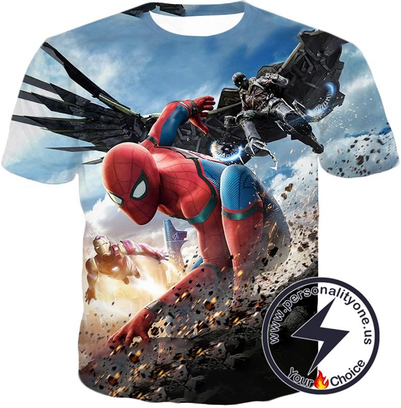 Marvels Spiderman Homecoming Featuring Iron Man and Vulture T-Shirt
