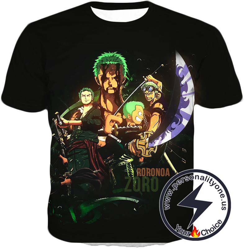 One Piece Extremely Powerful Swordsman Roronoa Zoro Promo Black T-Shirt