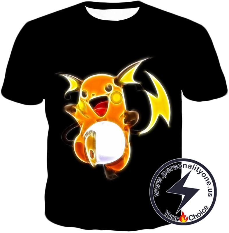 Pokemon Cool Thunder Pokemon Raichu Amazing Black T-Shirt