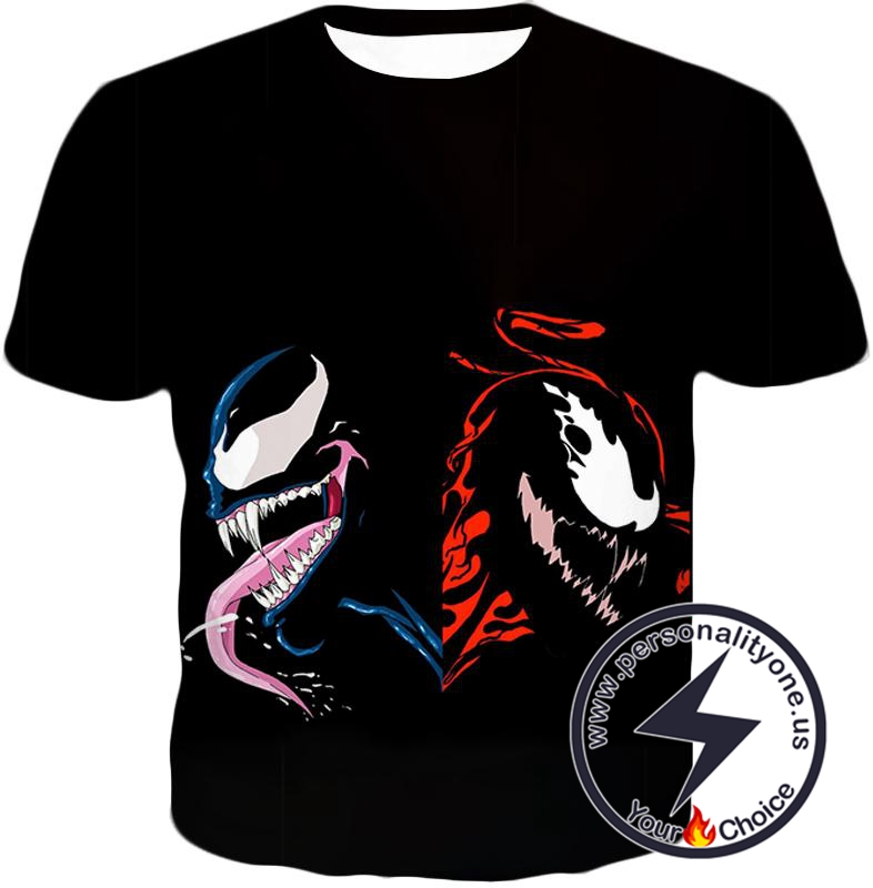 Pure Black Carnage and Venom Printed T-Shirt