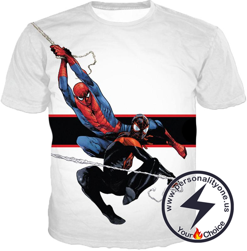 Spiderman x Black Spiderman Cool Action White T-Shirt