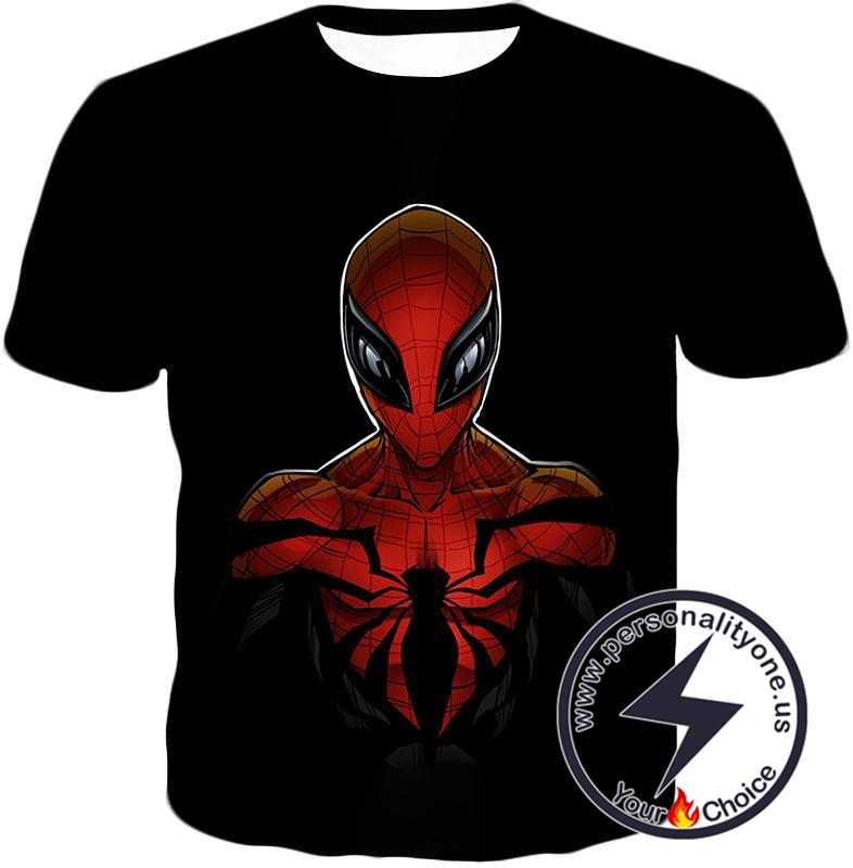 Wall Crawling Superhero Spiderman Animated Black T-Shirt